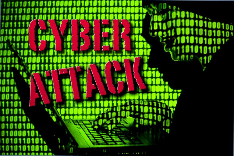 the words Cyber Attck in red on a background of green ones and zeros