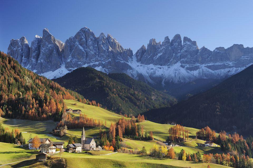 St. Magdalena and Geisler mountain range, Italy