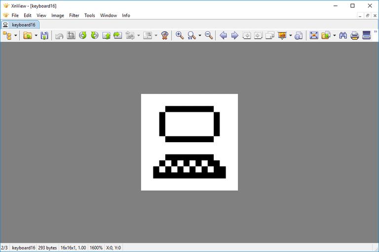 Screenshot of an XBM keyboard file open in XnView