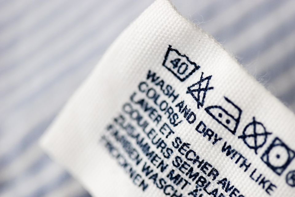 Close Up of Fabric Care Tag