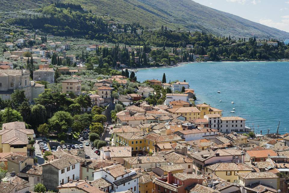 Panoramic view to Malcesine and Lake Garda