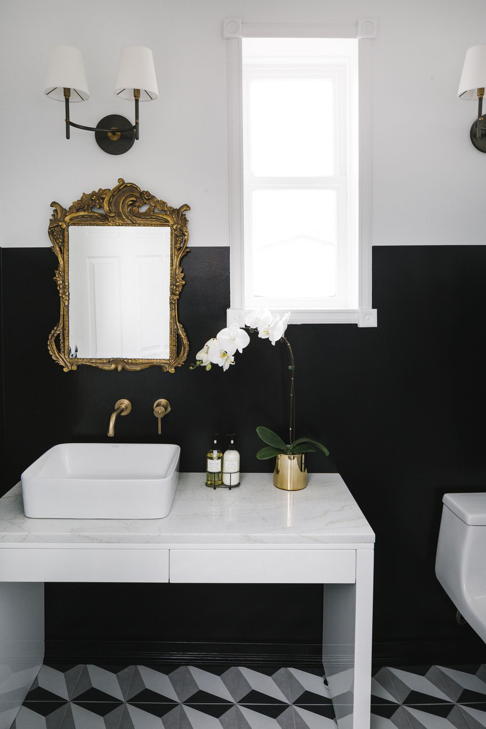 Pictures Of Black And White Bathrooms. black and white bathroom modern 3D illusion tile Home Makeover  An Interior Designer s Glam Black White Denver