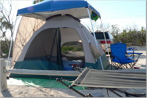 Campsite at Longkey State Park in Florida Keys.