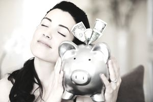 Savings in a piggy bank
