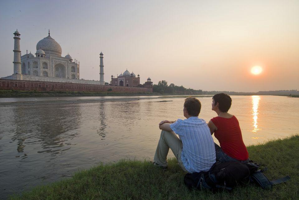 Tourists near the Taj Mahal.