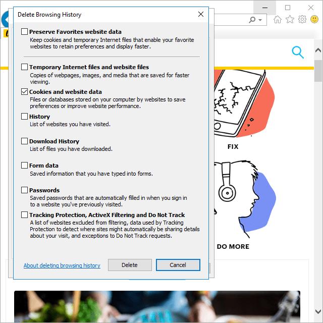 Screenshot showing how to delete cookies in Internet Explorer