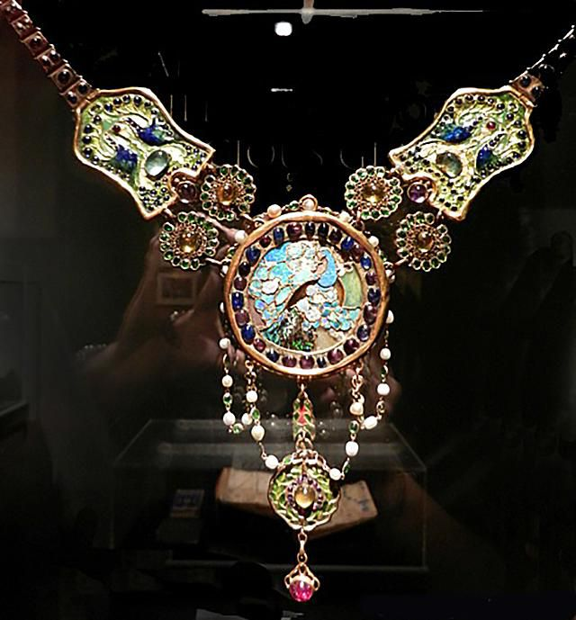Tiffany Peacock Necklace, ca. 1903-06, on Display at the Charles Hosmer Morse Museum of Art in Winter Park, Florida.