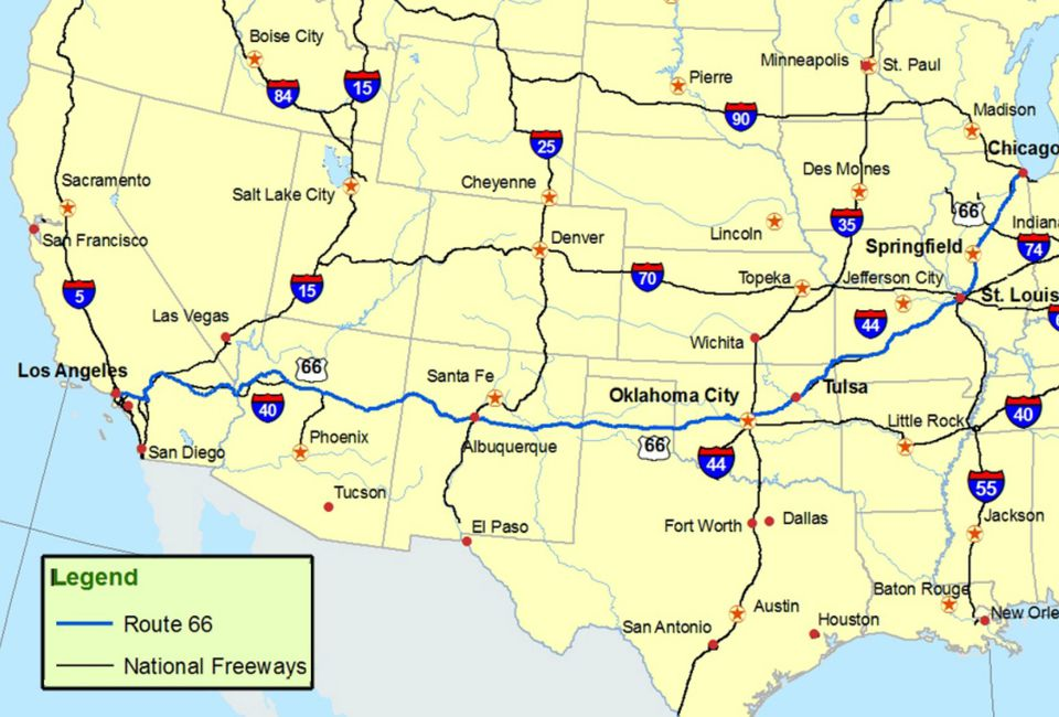 RoadTrip_Route66_NPS-566b0fbb3df78ce1615e75f6 Map Of Route From California To Oklahoma on