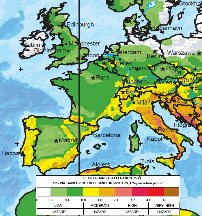 Major earthquake zones on each continent western europe map global seismic hazard assessment program gumiabroncs Images