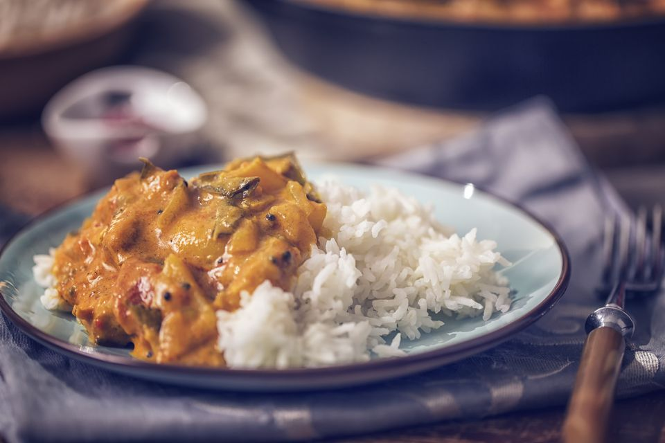 Delicous Homemade Chicken Curry Dish with Rice