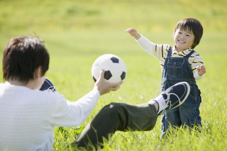 Kids playing with a soccer ball