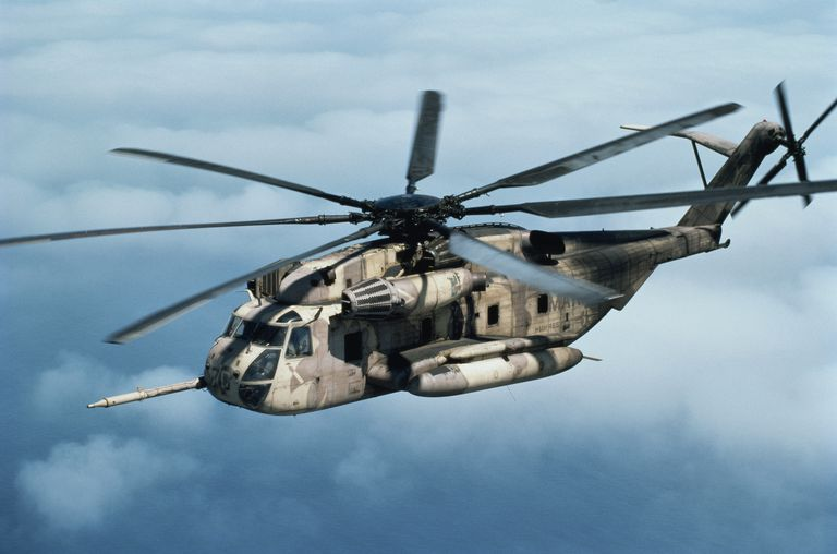 US Marine Corps CH-53E Super Stallion helicopter in flight