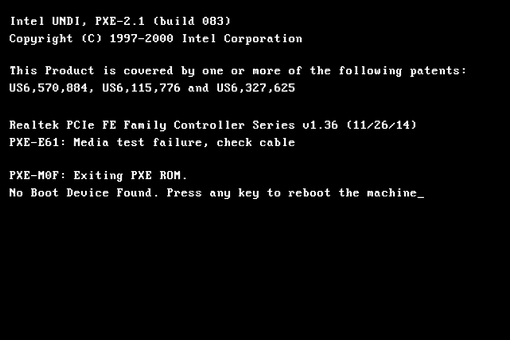 Illustration of a PXE-E61 error message that reads 'Media test failure, check cable'