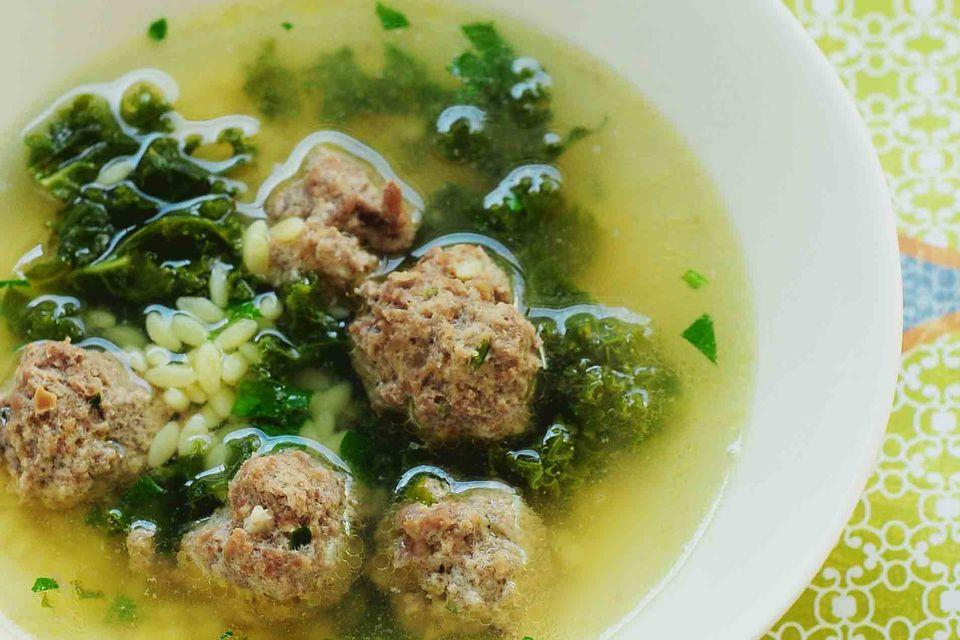 Kale meatball soup