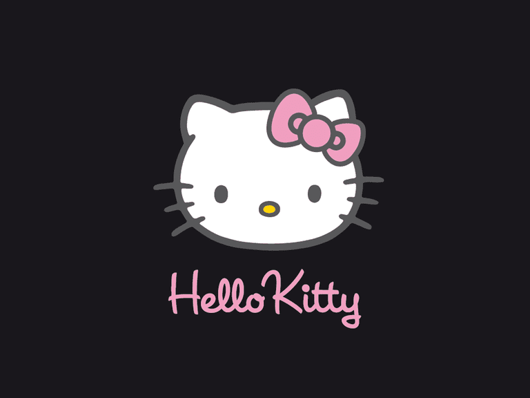 Screenshot of a simple black Hello Kitty wallpaper