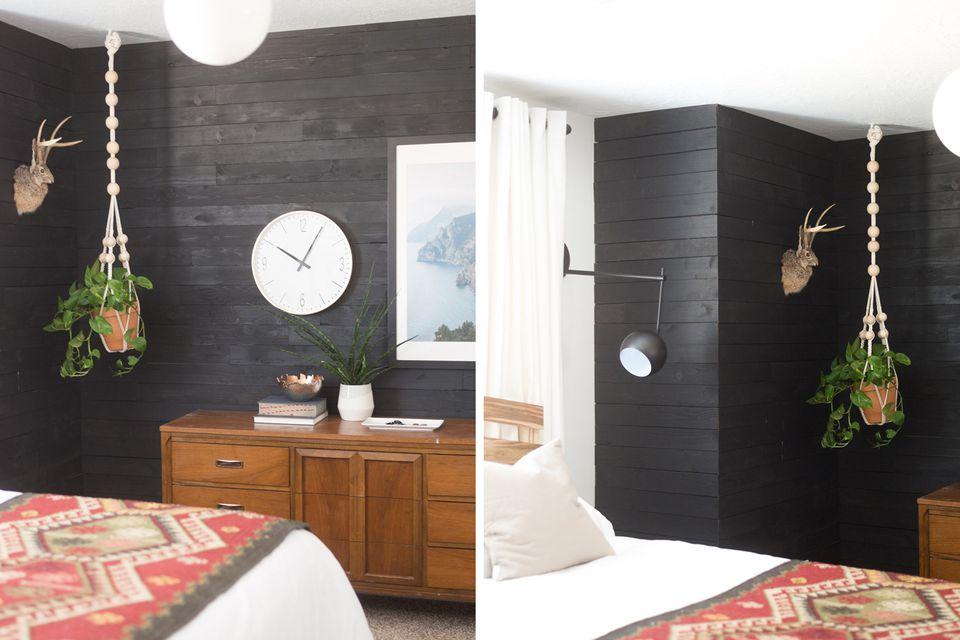 black shiplap in bedroom