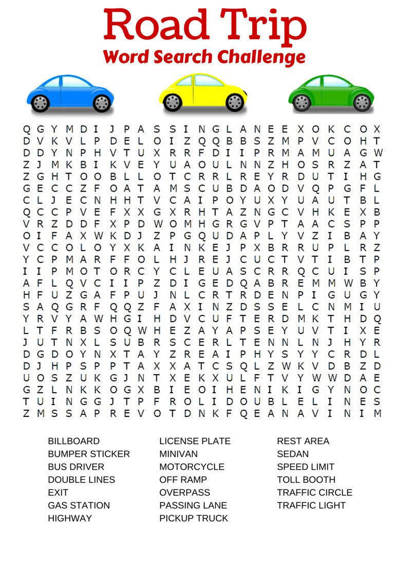 Free printable travel games for kids road trip word search robcynllc Images