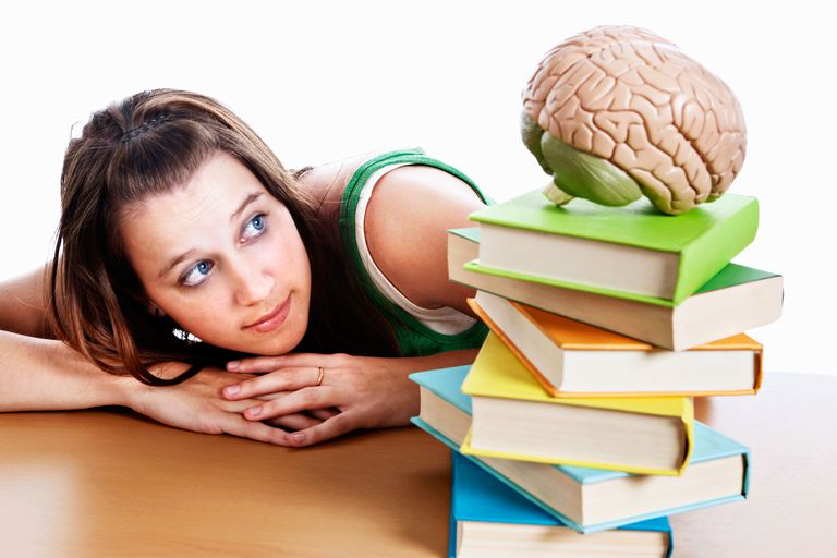 student looking at brain