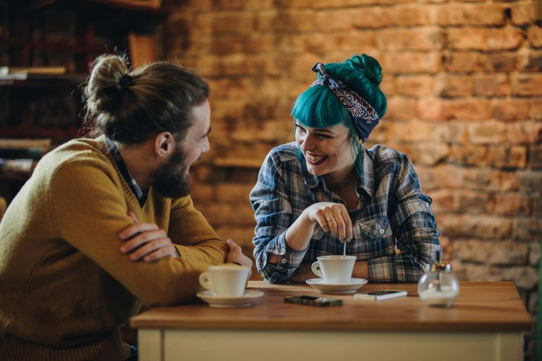 Couple in a coffee shop.