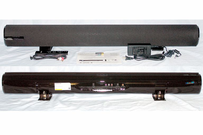 Hitachi HSB40B16 Sound Bar - Front and Rear Views