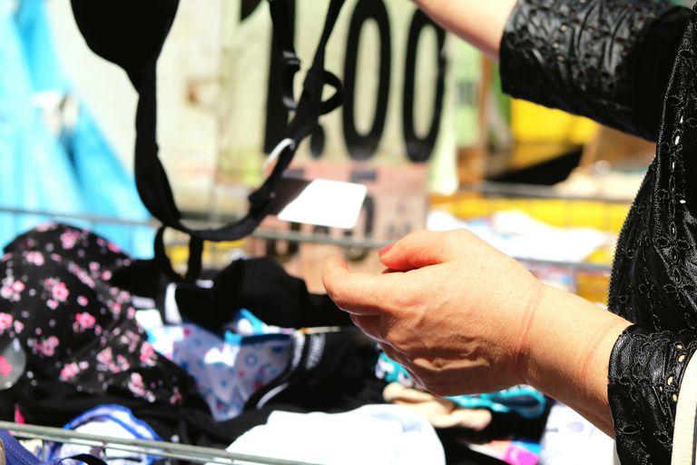 Woman bra shopping