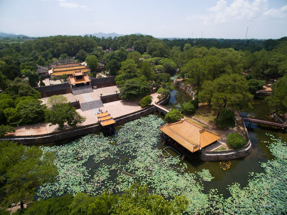 Tu Duc's Royal Tomb from the air, in Hue, Vietnam