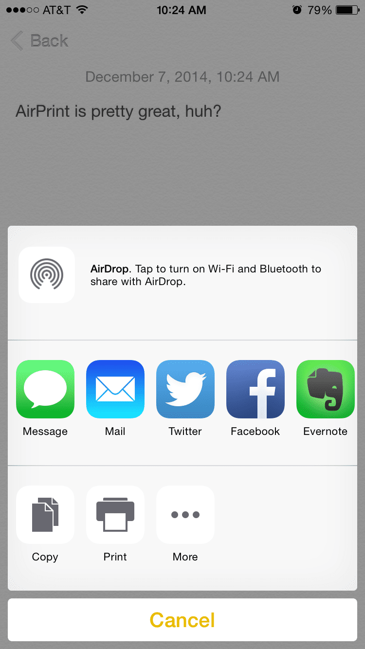 Using AirPrint on iPhone
