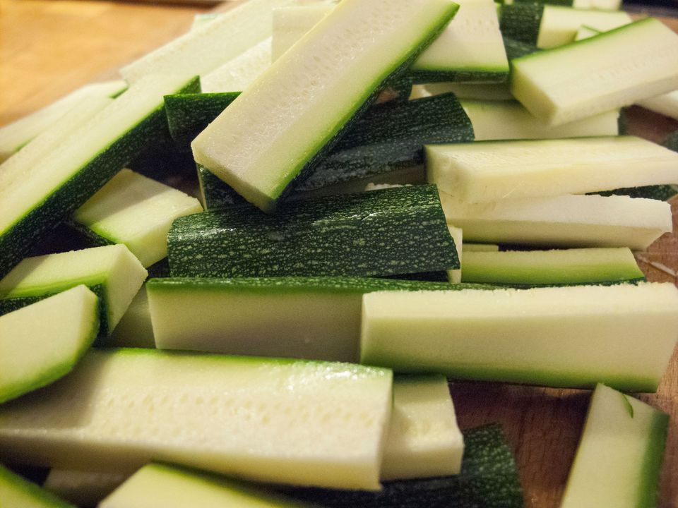 Close-Up Of Zucchini Slices On Table