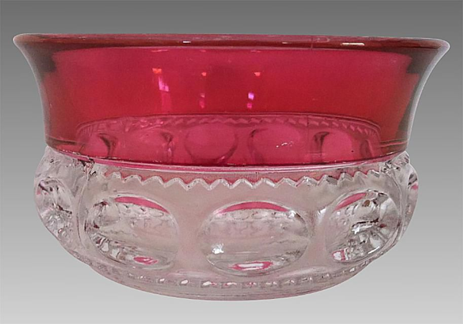 King's Crown Bowl with Stained Coloring on Clear Glass