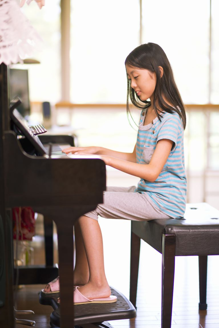 Sitting at the piano