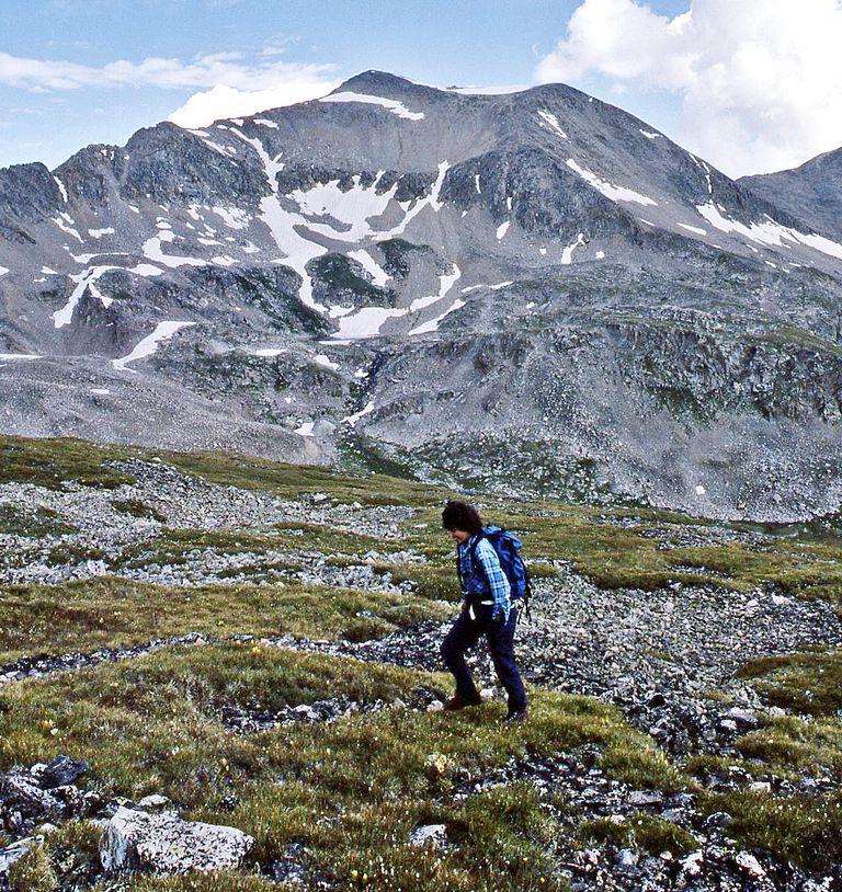 Jane Koerner hikes up Mount Buckskin in Colorado.