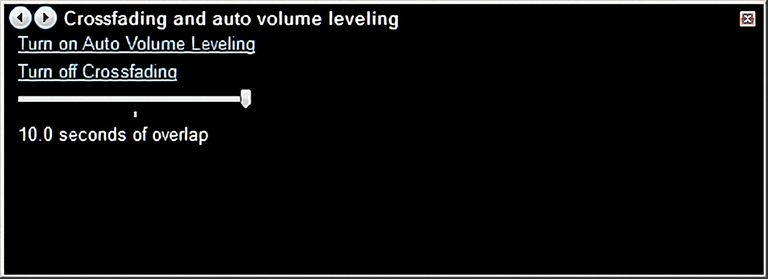 Volume Leveling and Crossfading Settings