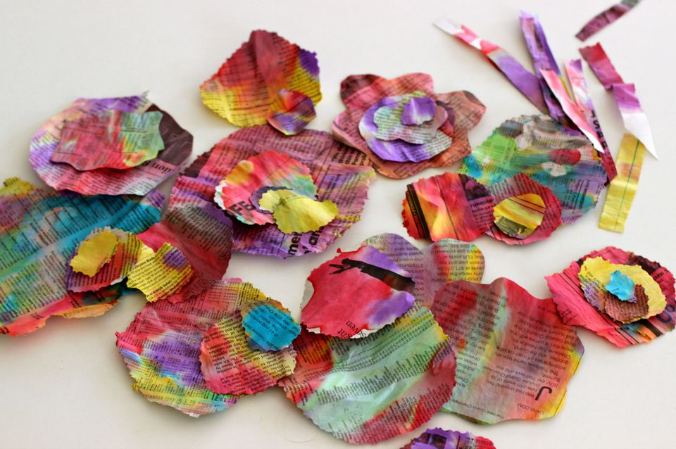 newspaper flowers recycled craft for kids recycled newspaper flower craft for 7847