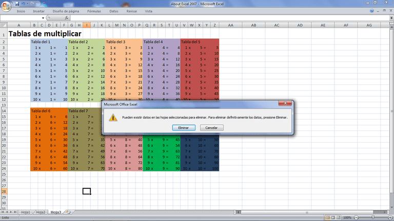 Eliminar hojas de Excel