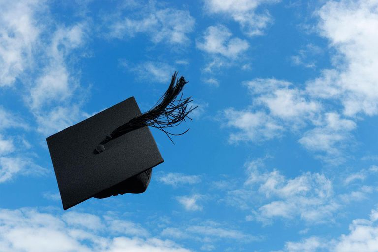 Graduation mortar board thrown in the air