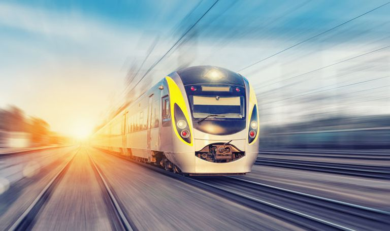 Train speeding along