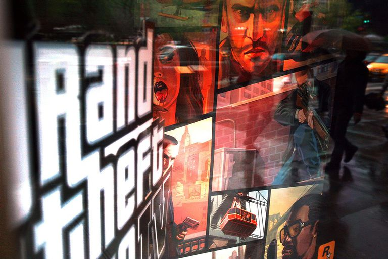 NEW YORK - APRIL 28: A window display advertises Grand Theft Auto IV April 28, 2008 in New York City.