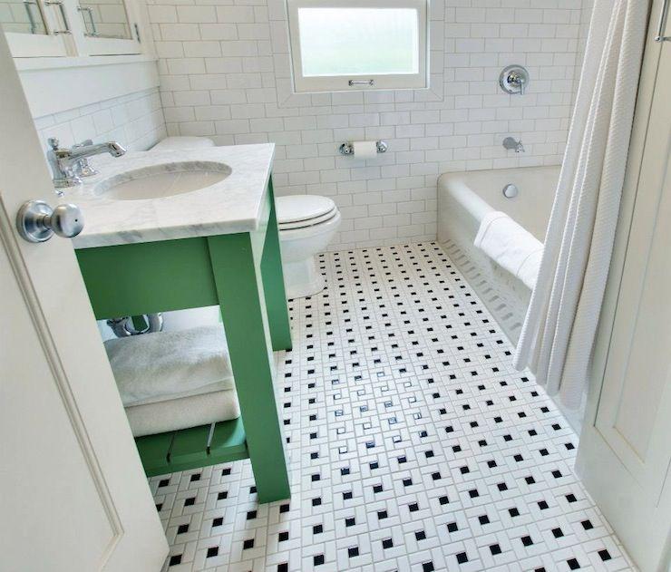 black and white tile floor bathroom. bathroom tile floor 15 Bathrooms With Amazing Tile Flooring