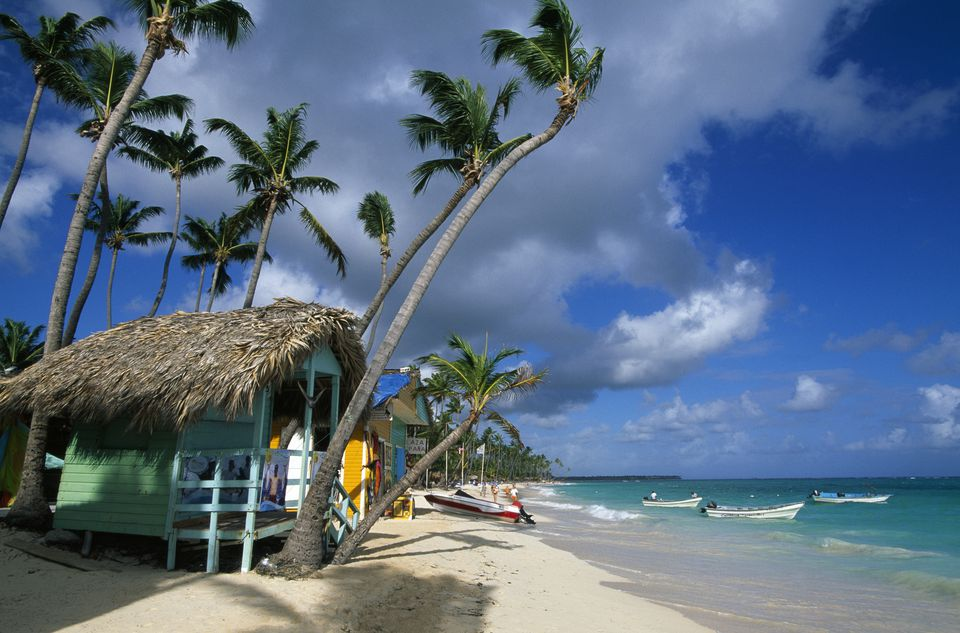 Huts on beach, Bavaro Beach, Dominican Republic