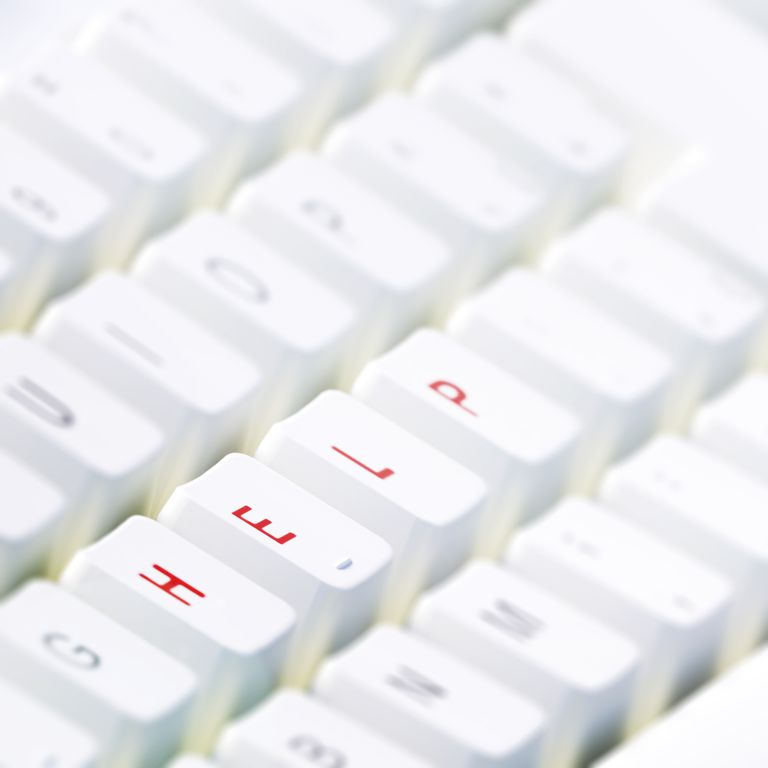 Computer keyboard with word help in red letters