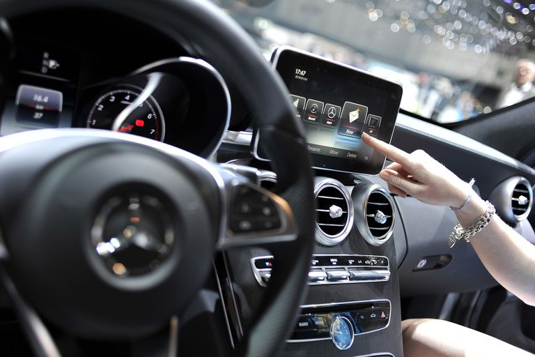 An Apple CarPlay screen is seen in a Mercedes-Benz car during the press day of the 84th International Motor Show