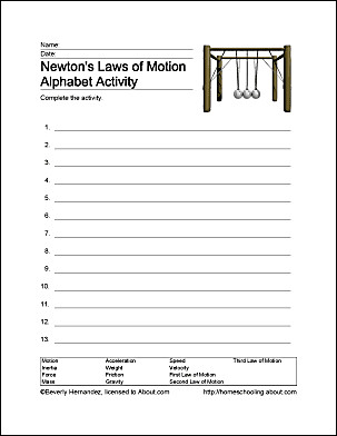 newton 39 s laws of motion homeschooling exercises. Black Bedroom Furniture Sets. Home Design Ideas