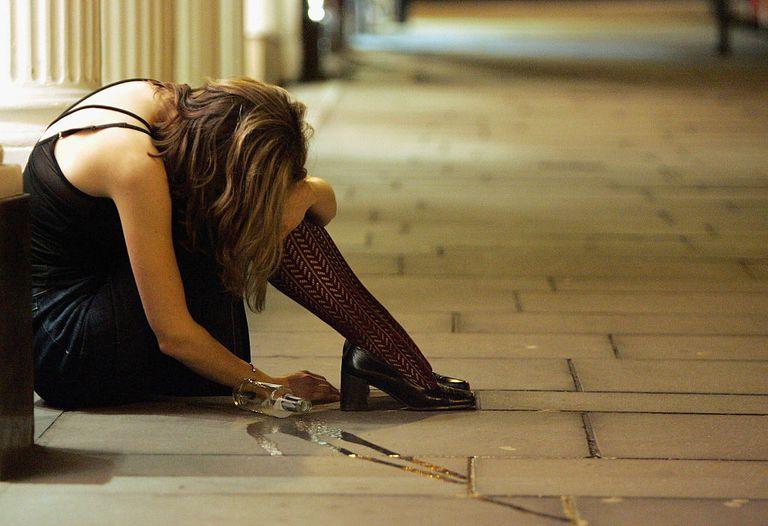 Woman drunk on street