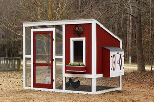 A red chicken coop