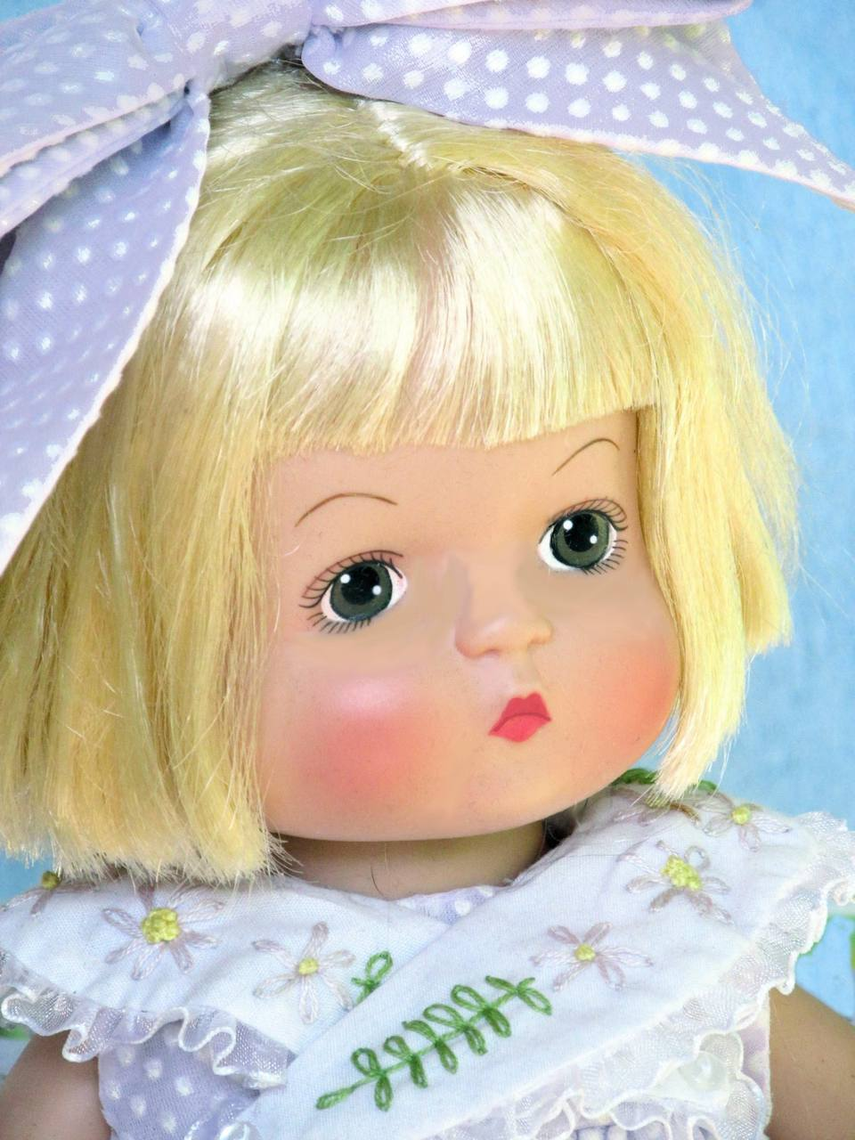 "Effanbee 14"" Patsy doll made by Robert Tonner 2003 with rooted hair and painted eyes on a hard vinyl body."