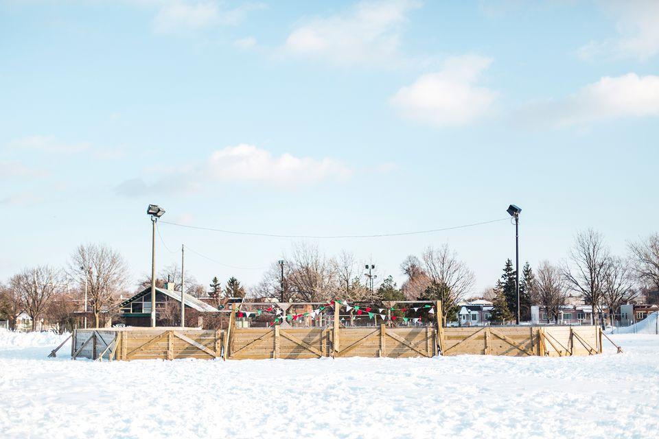 An outdoor skating rink.