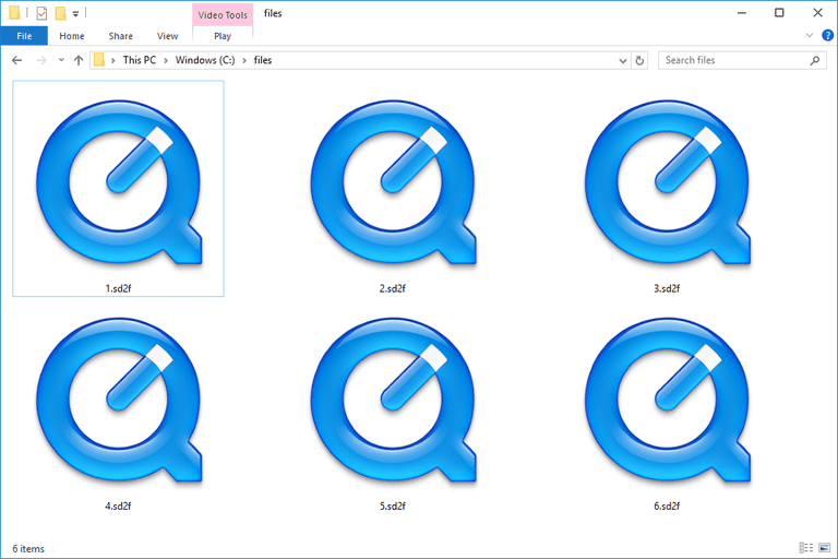 Screenshot of several SD2F files in Windows 10 that open with QuickTime Player
