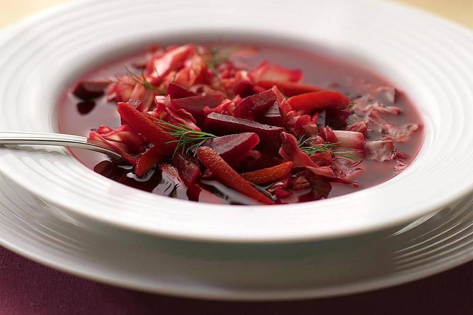 Beet and Cabbage borscht in bowl