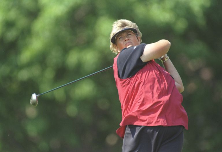 Laura Davies tees off during the 1997 LPGA Championship tournament.