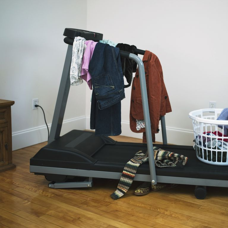 Clothes hanging on a treadmill